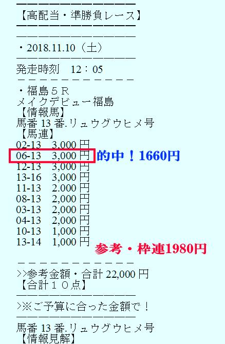 準勝負レース20181110メイクデビュー福島の買い目