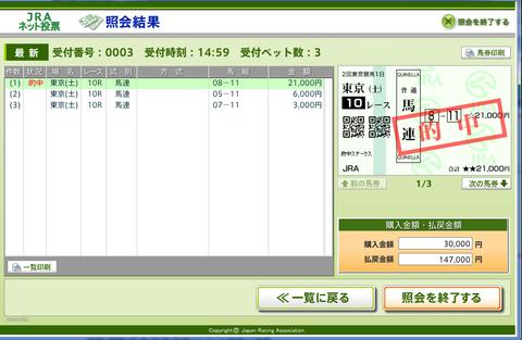 東京10R府中S(確勝レース)