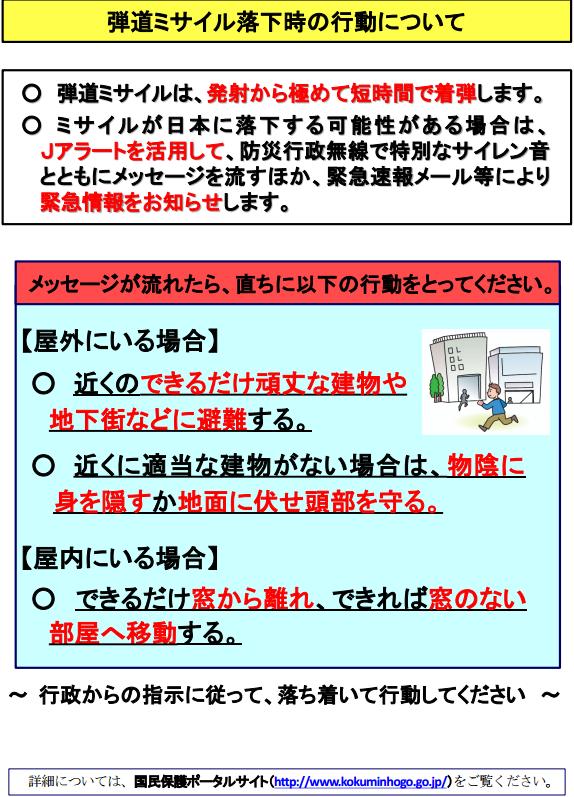 国民保護ポータルサイトの「北朝鮮弾道ミサイル落下時の行動」全文画像&2ch感想まとめ!北とアメリカの緊張高まり戦争秒読み状態、日本政府が注意喚起!