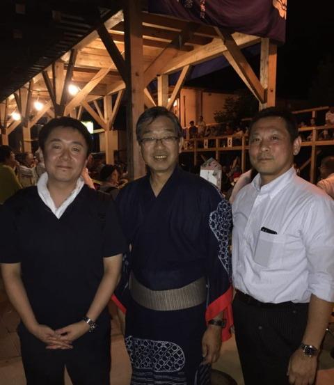 羽後盆踊り(安藤町長、西村さん、大林さん)