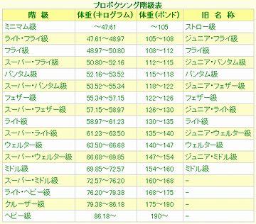 プロボクシングの階級表