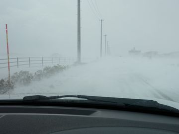 地吹雪の渡る道路(2013年2月24日/新潟市内)