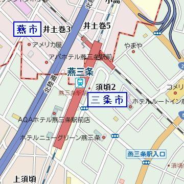 所在地は北側の燕市・南側の三条市にまたがってます
