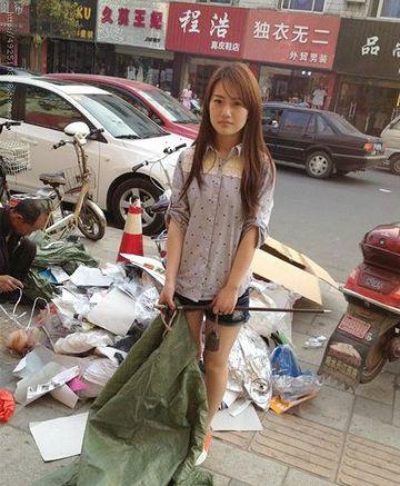 中国のホームレス女性だそうです。美人すぎ。