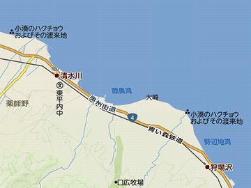 清水川駅からは、陸奥湾に沿って南に下ります