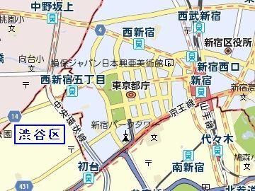 西新宿の高層ビル街のさらに西