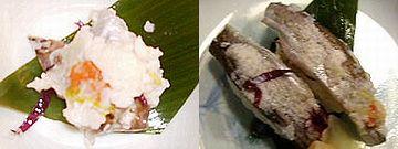 左:寿司ハタハタ/右:寿司ハタハタのにぎり