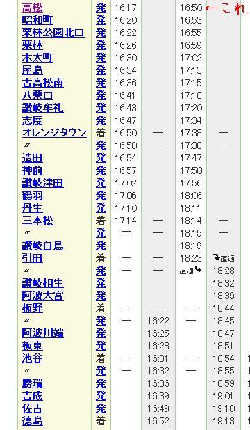 高徳線時刻表