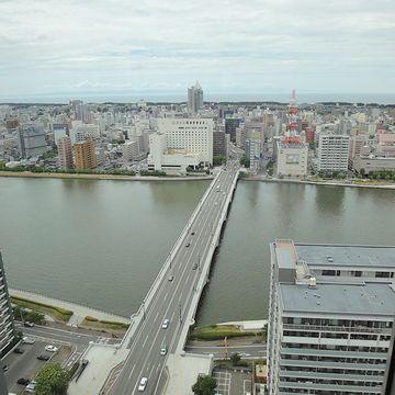 20階の展望室から撮った萬代橋