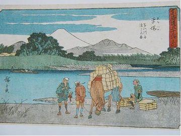 『馬入川舟渡しの図』。江戸時代はもちろん、幕府が橋を架けさせなかったのです