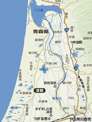 ここから20キロほど北で、十三湖(じゅうさんこ)に注ぎこみます
