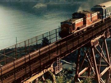 そこへ、ディーゼル機関車が進入します