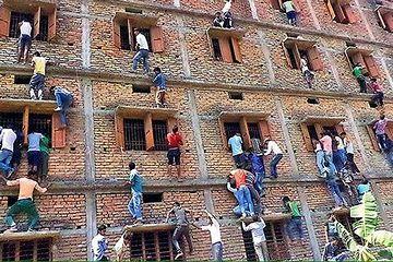 親が、試験場の校舎をよじ登って、カンペを渡すんだって