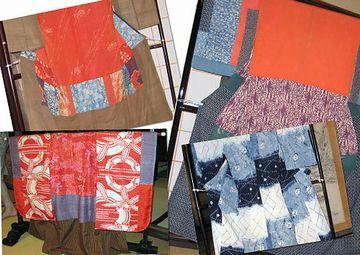 さまざまな絹布を継ぎ合わせてある