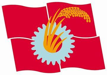 共産党の旗。稲穂と歯車。知りませんでした。