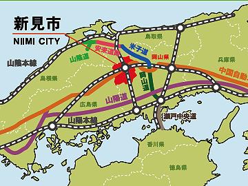 新見市ホームページ。お粗末な図です。白丸の都市名すら描いてありません。