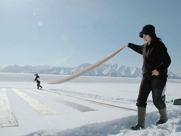 一冬かけて織りあげた反物を、雪に晒す