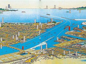 吉田初三郎による新潟市鳥瞰図(昭和12年)