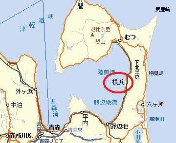 この先に、上北郡横浜町(よこはままち)という町があるんです