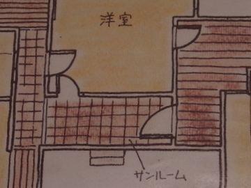 洋間の前の廊下は、サンルームを兼ねてるんですよ