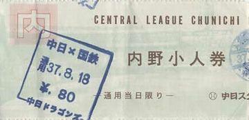 今のヤクルトの前身が『国鉄スワローズ』。しかし、80円って……(昭和37年)。