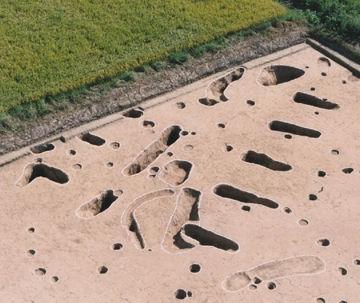 弥生時代後期の『伊勢遺跡』。柱穴には、明らかに斜路が掘られてます。