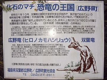 広野町には、約8,800万年前から白亜紀後期の地層が露出しており