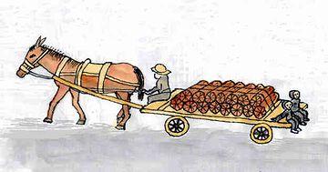馬に引かせる