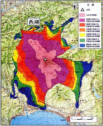 西湖は、富士山の噴火による堰止め湖