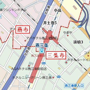 縦の線路が上越新幹線。斜めに交わってるのは、弥彦線です。