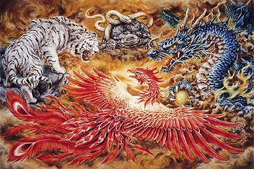東の青龍(せいりゅう)、南の朱雀(すざく)、西の白虎(びゃっこ)、北の玄武(げんぶ)