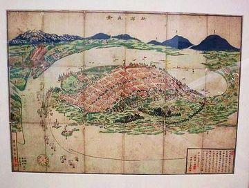 半島のように描かれてるのが長岡藩。信濃川の対岸が新発田藩。