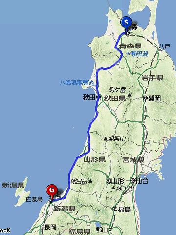 青森→秋田【奥羽本線】秋田→新発田【羽越本線】新発田→新潟【白新線】。乗車距離、458.8km。鈍行列車だと、9時間半かかります。