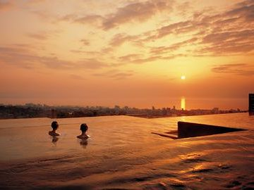 棚湯から見た夕景