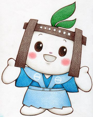 長野県木曽町福島のマスコットキャラクター『福ちゃん』。関所を被ってます。