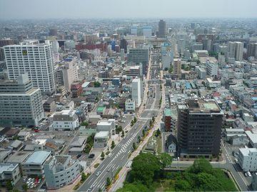 高崎市街。大都会ですね。人口、37万人。