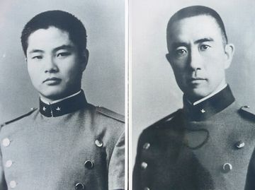 三島由紀夫(右)と森田必勝(左)