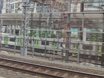 緑の入った電車は、山手線