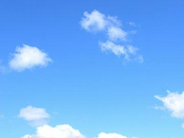 背後の空が真っ青でね