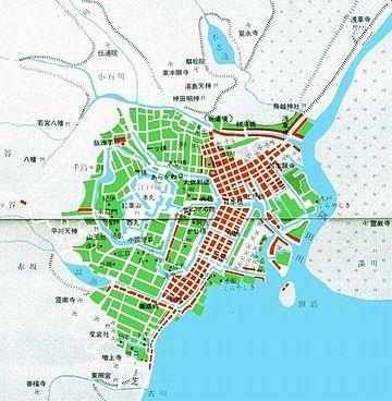 緑が武家地。赤が町人地。白が寺社地。