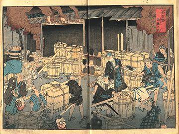 「安政箇労痢(ころり)流行記」の口絵にある「荼毘室(やきば)混雑の図」
