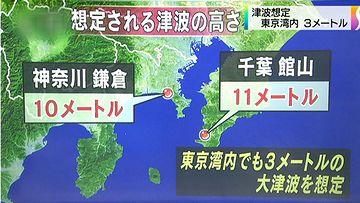 館山や鎌倉は、10メートルを超える津波に襲われる
