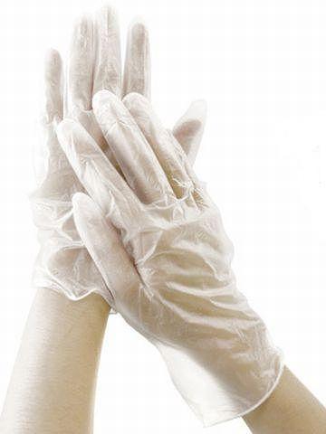 使い捨てのビニール手袋