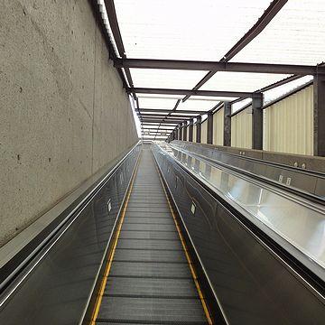 階段もありましたが、すぐ脇に動く歩道を見つけたので、話のタネにこちらに乗りました