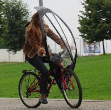 自転車用の傘だそうです。駅の駐輪場には入りませんね。