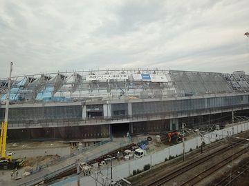 建設中のスタジアムらしき建造物