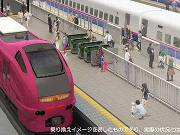 奥が新幹線、手前が『いなほ』