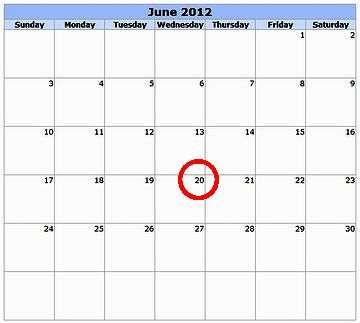 6月20日の特別な日には、大きな丸