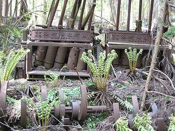 金ヶ沢金山跡(宮城県本吉郡南三陸町)に堆積するズリ石