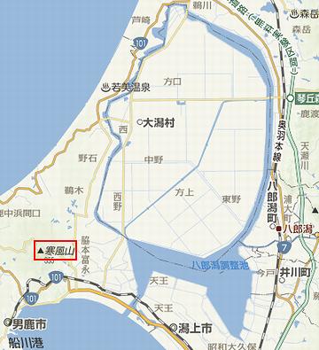 八郎潟の地図